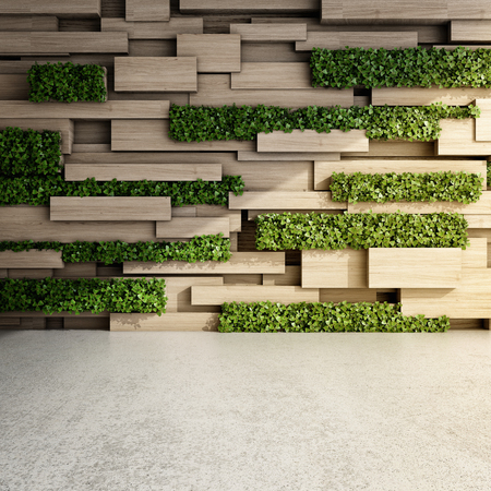 Wall in modern interior with wooden blocks and vertical garden. 3D illustration. Reklamní fotografie - 77109932