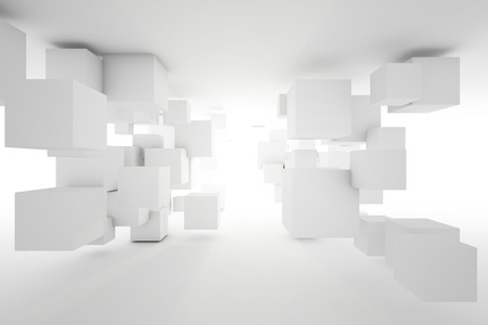 Cubes of different sizes in random order on bright light. 3D illustration.