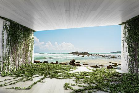 Moderne lounge met verticale tuinen en uitzicht op zee. 3D illustratie.