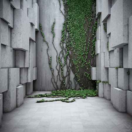 Architectural modern space. Concrete and vertical gardens. 3D illustration. Stok Fotoğraf