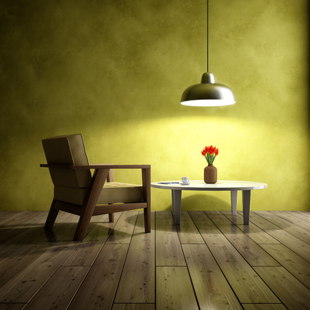 Dark interior of room with armchair and coffee table. 3D illustration. Stock Photo
