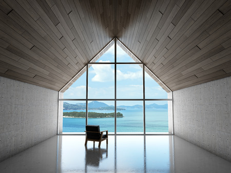 Empty modern lounge area with large bay window and view of sea. 3D illustration.