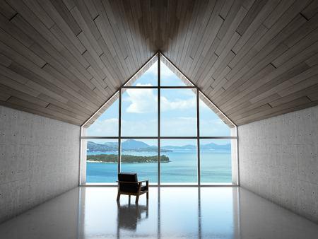 Svuotare area salotto moderno con grande vetrata e vista mare. illustrazione 3D. Archivio Fotografico - 80192123