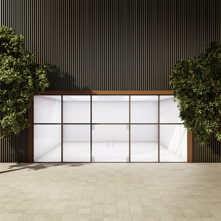 Modern empty shop among trees. 3D illustration.