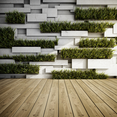 Interior of decorative concrete wall with vertical gardens. 3D illustration.