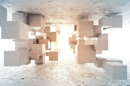 Abstract geometric background of concrete cubes. 3D illustration. Stok Fotoğraf