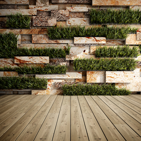 Interior of decorative stone wall with vertical gardens. 3D illustration. Banco de Imagens