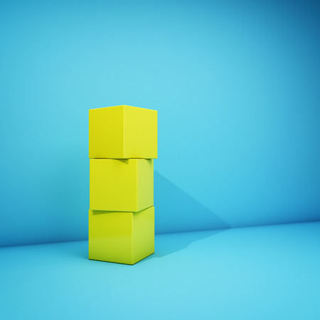 Abstract geometric image with yellow cubes on blue background. 3D illustration. Banco de Imagens