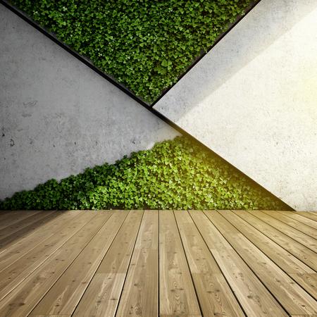 Mur en intérieur moderne avec des blocs en béton et un jardin vertical. Illustration 3D. Banque d'images - 82364561