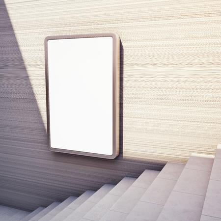 ステップ アップでコンクリートの壁に空白の広告看板。3 D イラスト。 写真素材