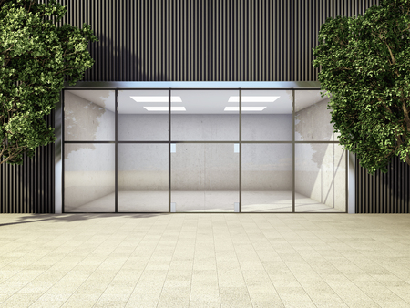 Moderne lege winkel tussen bomen. 3D illustratie.