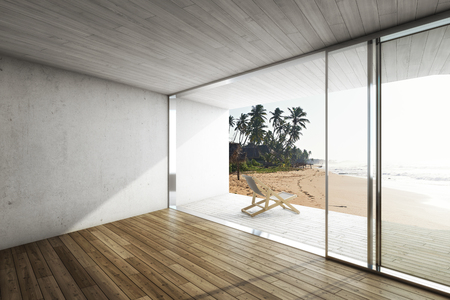 rendering: Large terrace in modern house by the sea with deck chair. 3D illustration. Stock Photo