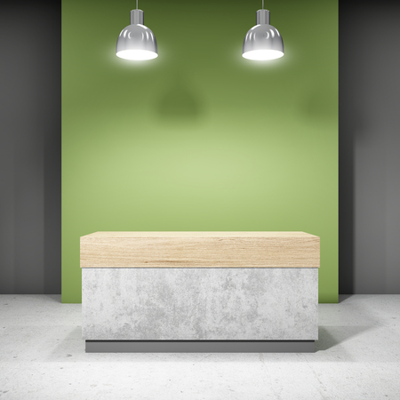 Reception in new office. Blank of corporate style. 3D illustration. Stock Photo