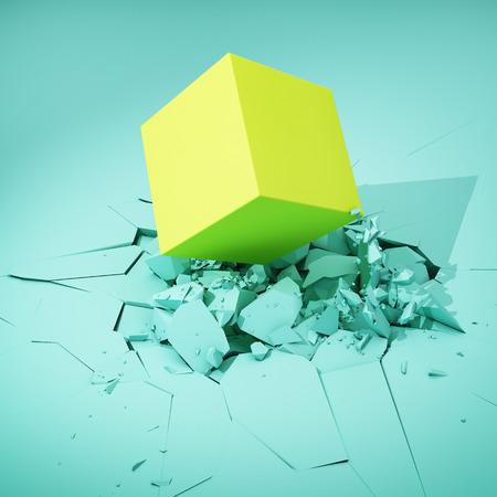큐브는 표면을 치고 그것을 파괴합니다. 다채로운 개념입니다. 3D 그림입니다. 스톡 콘텐츠 - 82364566