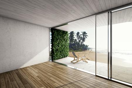 デッキの椅子と海による近代住宅の大きなテラス。3 D イラスト。