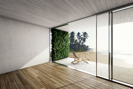 Groot terras in modern huis aan zee met ligstoel. 3D illustratie.