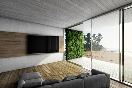 Wohnzimmer mit Sofa und TV. Große Fenster mit Terrasse und Meerblick. 3D-Darstellung. Standard-Bild - 84495831