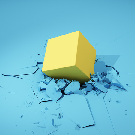 Cube hits surface and destroys it. Colorful concept. 3D illustration.