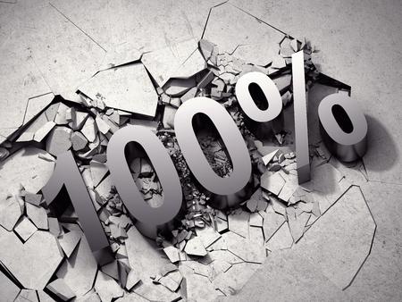 numeric: 100% discount breaks concrete surface. 3D illustration.
