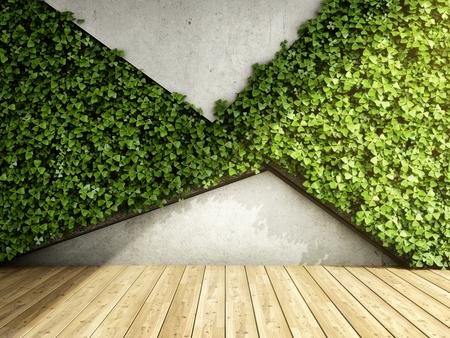 Wand in einem modernen Interieur mit Betonsteinen und vertikalen Gärten. 3D-Darstellung. Standard-Bild - 84444708