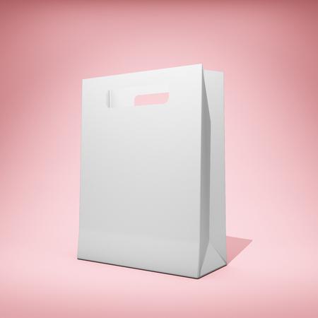 Blank branded bag on pink background. 3D illustration. Stock Photo