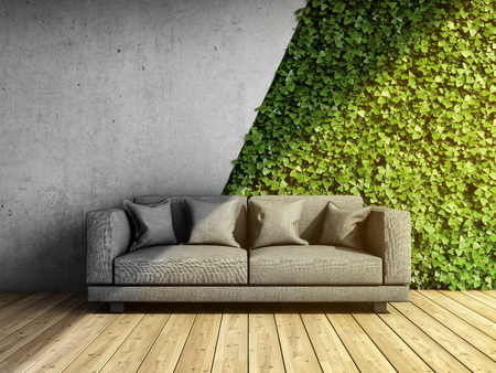 Concrete wall in modern interior with sofa and vertical garden. 3D illustration.