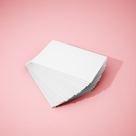 Blank stacks of business card on pink background. 3D illustration.