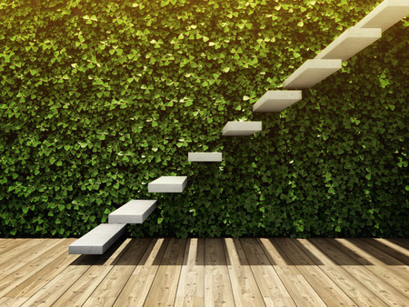 Interior of room with wall from vertical garden and staircase of concrete blocks. 3D illustration. Stock Photo