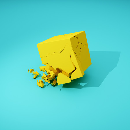 Cube breaks down on surface. 3D illustration. Stock Photo