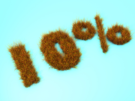 10 percent discount from grass. 3D illustration.