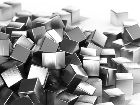 白い背景に焦点を当てた散乱金属キューブ。3Dイラスト。 写真素材