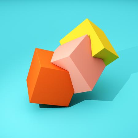 Geometria astratta di cubi colorati su sfondo blu. Illustrazione 3D Archivio Fotografico - 89438076