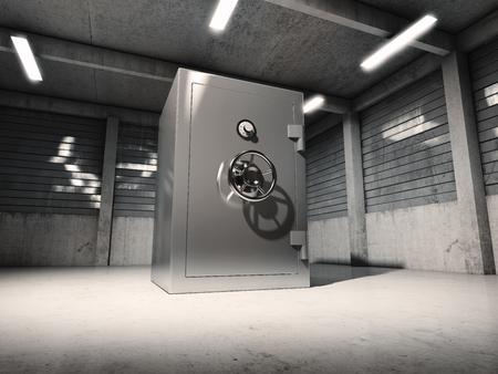 Bank safe in old garage. 3D illustration. Stock Photo