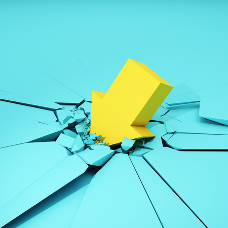 Arrow hits surface and destroys it. Colorful concept. 3D illustration.