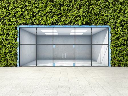 Large shop window in wall with vertical garden. 3D illustration.