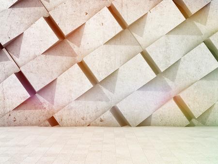 기하학적 모양에서 벽의 건축 디자인. 3D 그림입니다. 스톡 콘텐츠