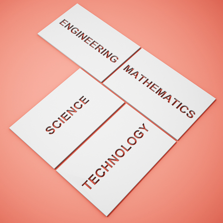White boxes with words STEM education Science Technology Engineering Mathematics on background. 3D illustration.