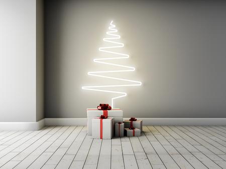 Concept kerstboom met geschenken in interieur. 3D illustratie