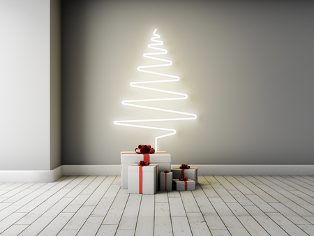 Concept of Christmas tree with gifts in interior. 3D illustration. Stok Fotoğraf