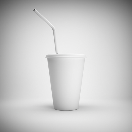White paper cup with drinking straw on white background. 3D illustration. Stok Fotoğraf