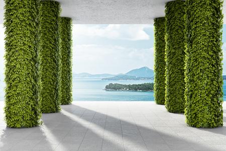 Groot terras met kolommen van groene planten. 3D illustratie.