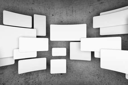 Empty icons on background of concrete wall. 3D illustration.