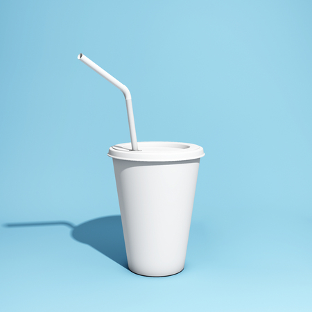 White paper cup with drinking straw on blue background. 3D illustration.