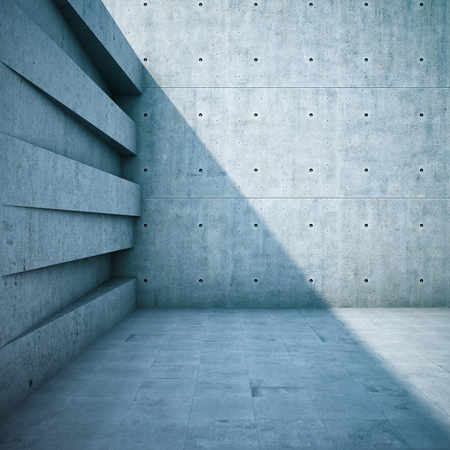 Architectonisch ontwerp van muren van geometrische vormen. 3D illustratie.