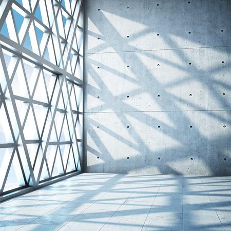 Architectonisch ontwerp van moderne betonnen hal. 3D illustratie.