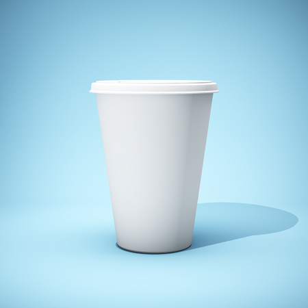 White paper cup on blue background. 3D illustration. Stock Photo