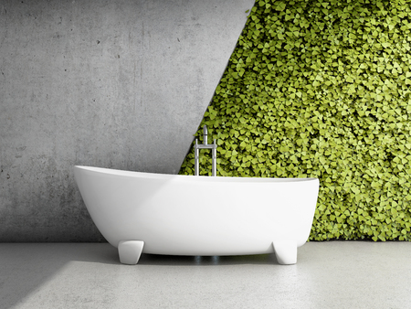 Bathroom with vertical garden. 3D illustration.