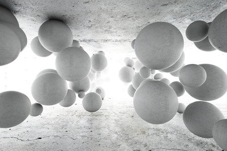 Abstract geometric background of concrete balls. 3D illustration.