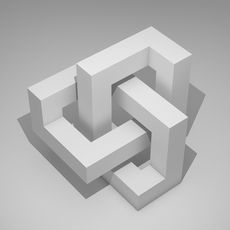 Cubic geometry of an infinite figure. 3D illustration.