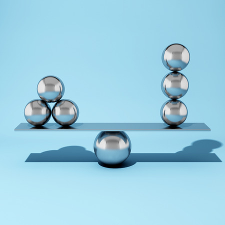 Balancing steel ball on blue background. 3D illustration.